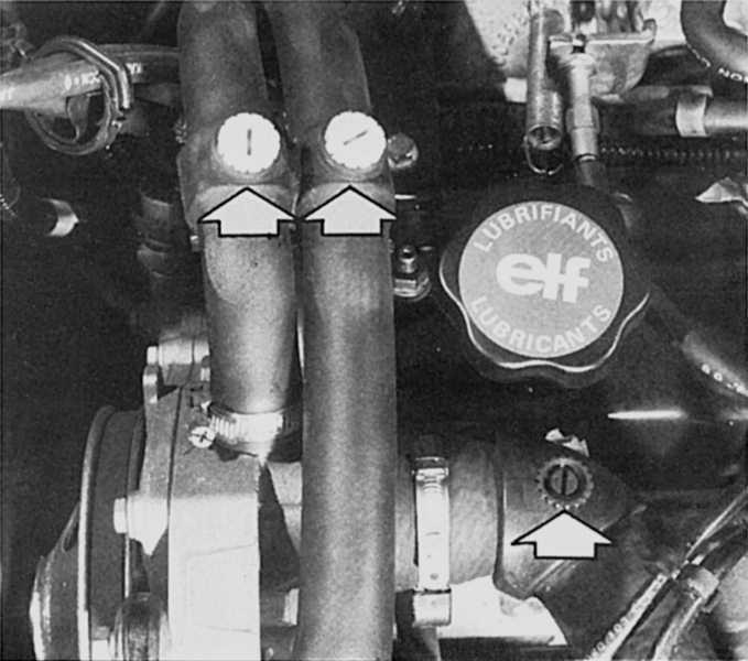 1 - датчик-выключатель pas 2 - датчик температуры охлаждающей жидкости двигателя 3 - клапан pcv 4